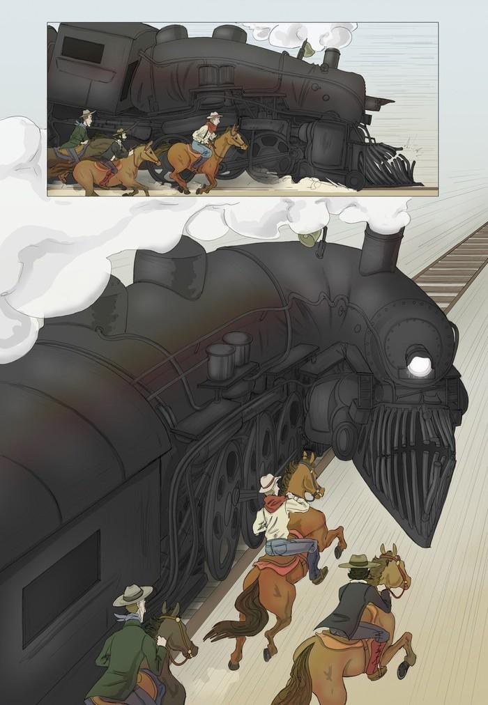 In the wild West Комиксы, Ковбои, Дикий Запад, Длиннопост, Поезд, Ограбление