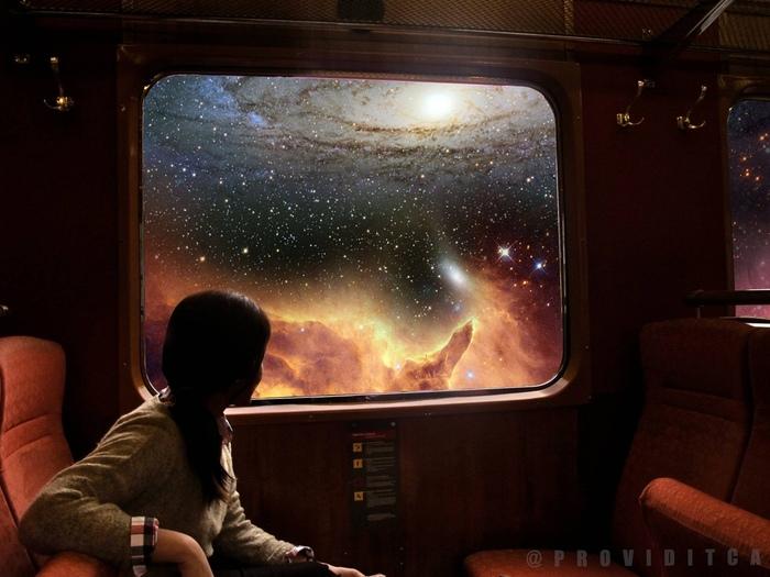 Передаём за проезд Арт, Картинки, Космос, Длиннопост, Поездка, Поезд, Вселенная, Подборка