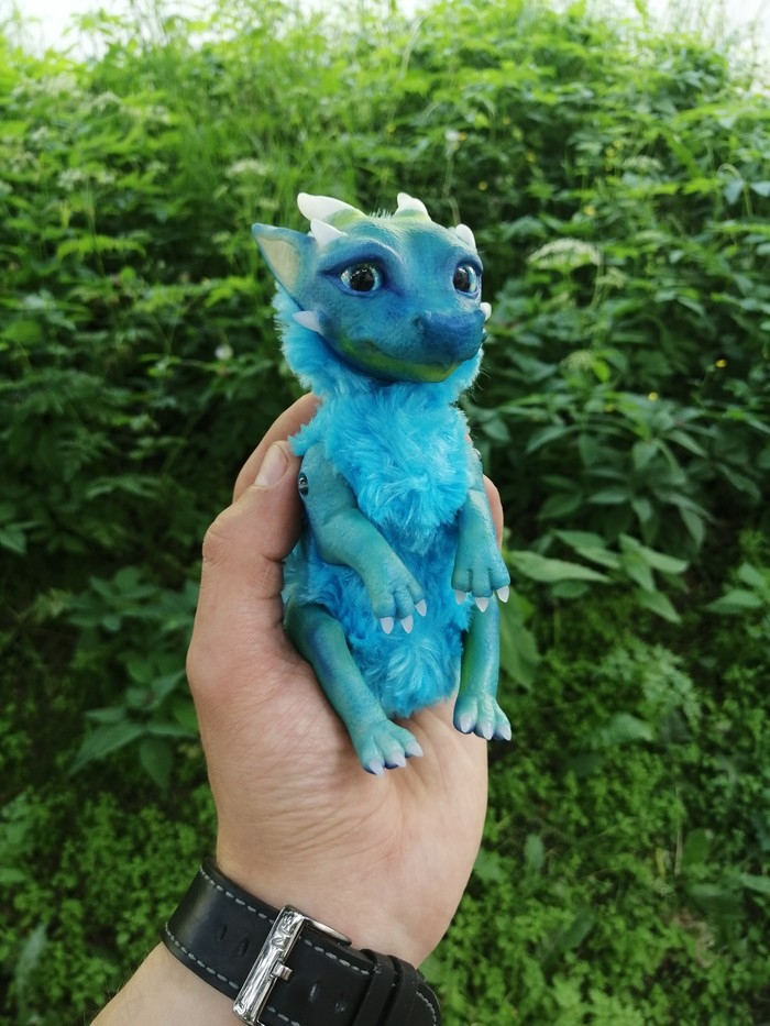 Синий дракончик +1 Дракон, Рукоделие без процесса, Полимерная глина, Авторская игрушка, Длиннопост