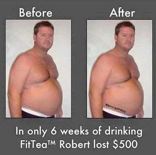Всего за 6 недель употребления FitTea Роберт потерял 500 долларов!