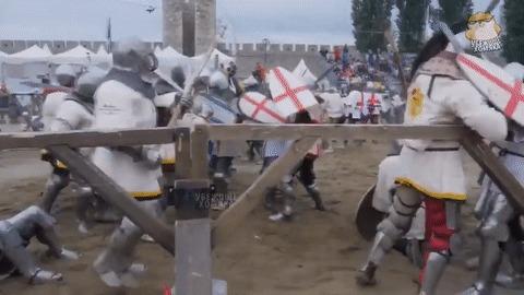 Средневековая битва. Реконструкция. Реалистичная ;)