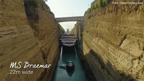 Тютелька в тютельку Коринфский канал, Канал, Точность, Море, Круизные лайнеры, Корабль, Гифка