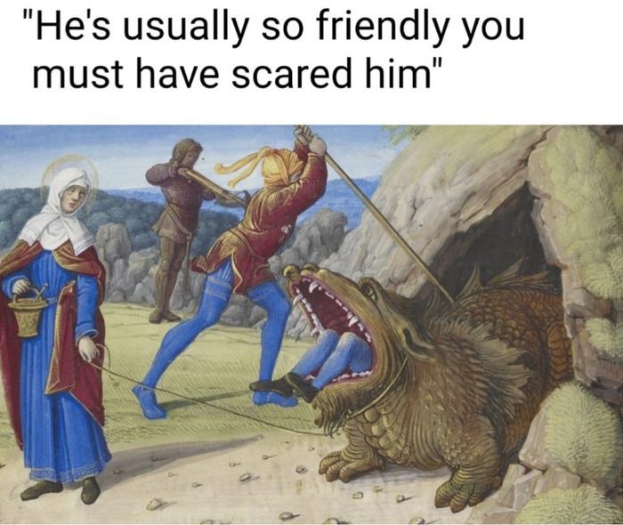 Он обычно очень дружелюбный, наверно вы его напугали