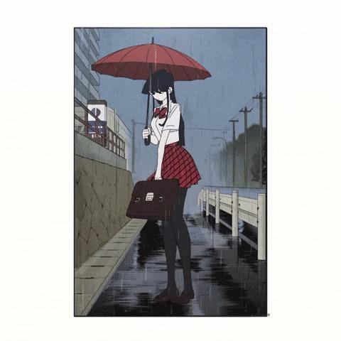 Коми-сан с зонтиком