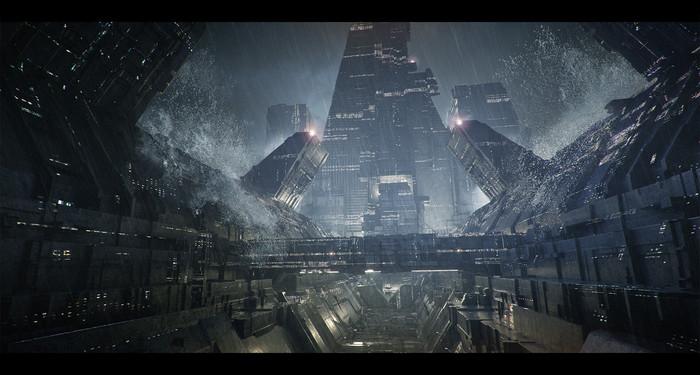 Города будущего Арт, Научная фантастика, Города будущего, Цивилизация, Цифровой рисунок, Длиннопост, Artstation, Концепт-Арт