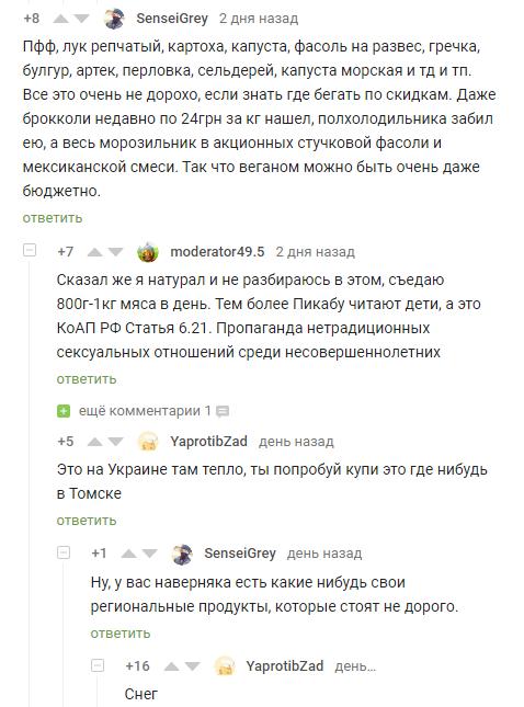 Снег... Комментарии, Скриншот, Комментарии на Пикабу, Томск, Веганы