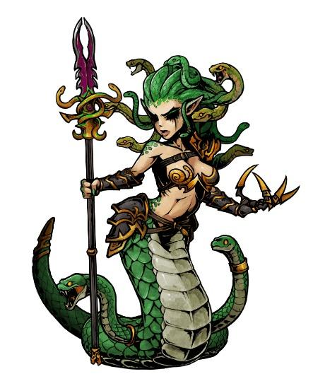 Bloodwrack Medusae Muhut, Warhammer Fantasy Battles, Total War: Warhammer II, Darkest Dungeon, Crossover, Гифка