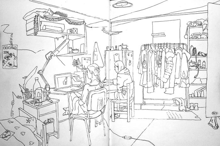 Наброски комнат в общаге Рисунок, Блокнот, Длиннопост