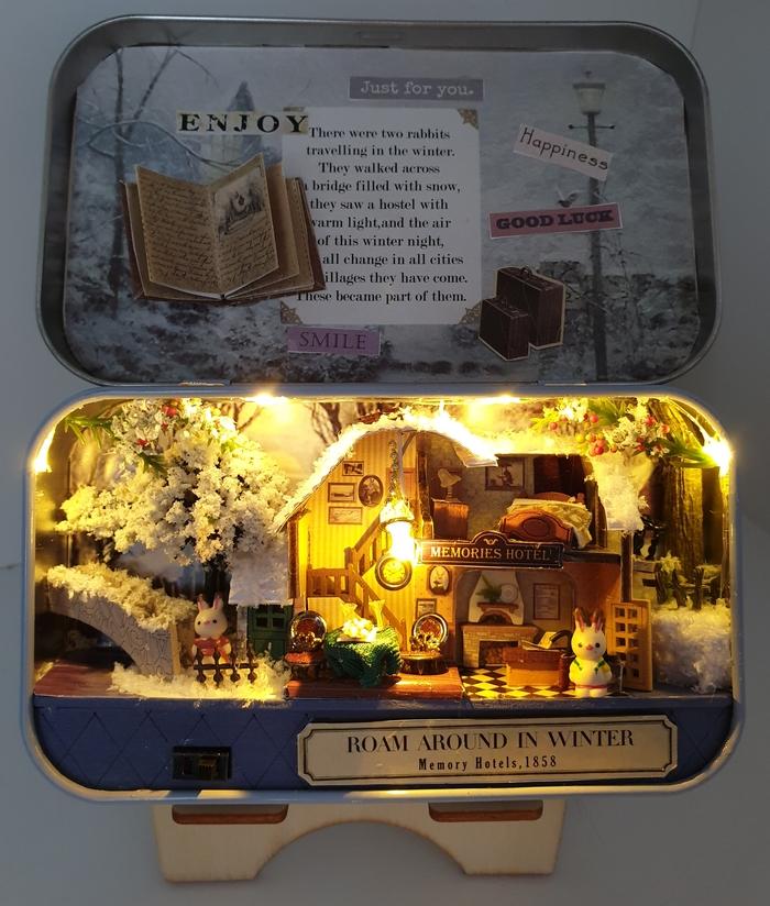 Зимняя миниатюра Зима, Кролик, Румбокс, Рукоделие с процессом, Длиннопост