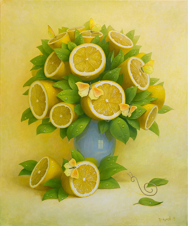 Лимонный букет с бабочками