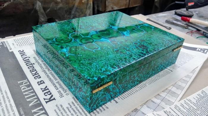 Коробка малахит с хризоколлой готовая (без процесса) Камень, Малахит, Работа, Длиннопост