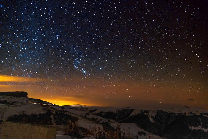 Январские звезды над перевалом Гумбаши
