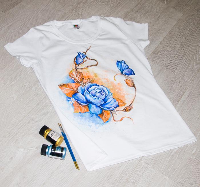 Ручная роспись футболок, розочки