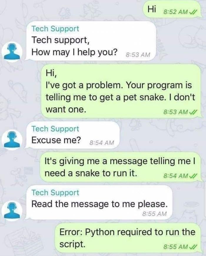Разговор с техподдержкой