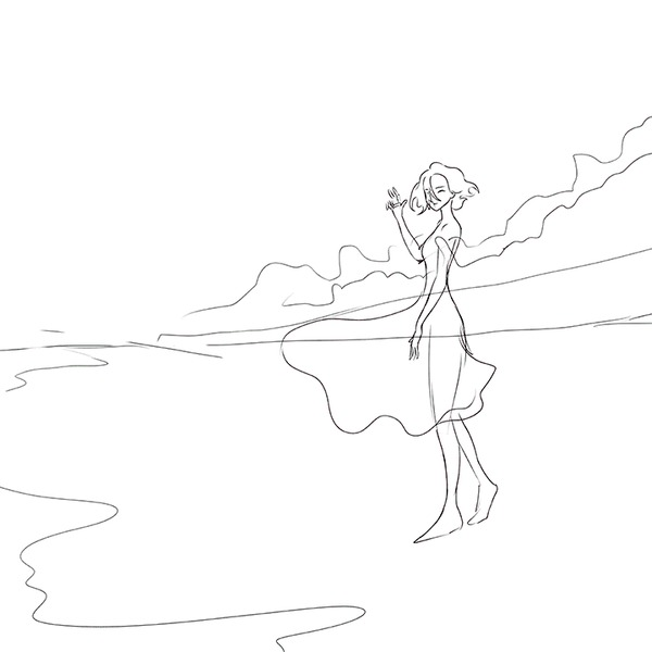 Оранжевое дуновение заката (включает этапы создания) Цифровой рисунок, SAI, Photoshop, Девушки, Закат, Одуванчик, Море, Гифка
