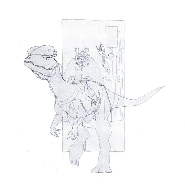 Серебро. Зима Арт, Традиционный арт, Digital, Динозавры, Самурай, Фэнтези, Гифка, Длиннопост