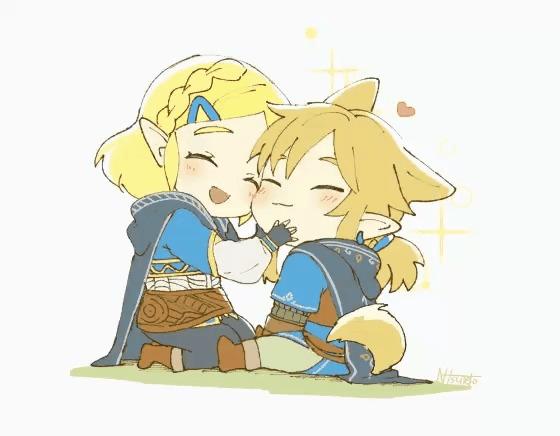 Art The Legend of Zelda, Breath of the Wild, Link, Princess Zelda, Игры, Арт, Гифка