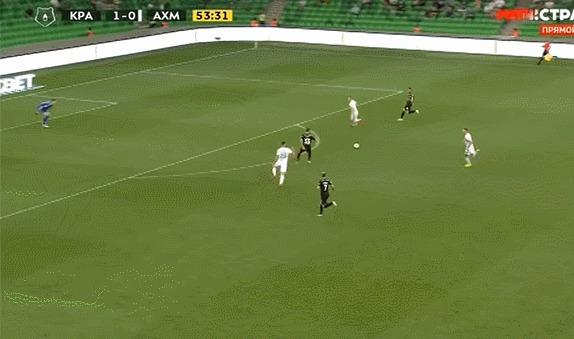 Очередной шикарный гол от Краснодара Спорт, Футбол, Российская Премьер Лига, Фк краснодар, Гол, Гифка