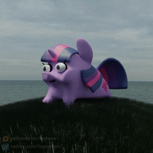 Будущая правительница Эквестрии весело скачет по зелёному лугу My Little Pony, Twilight Sparkle, Гифка