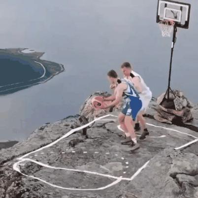 Суровая баскетбольная площадка Спорт, Баскетбол, Горы, Гифка