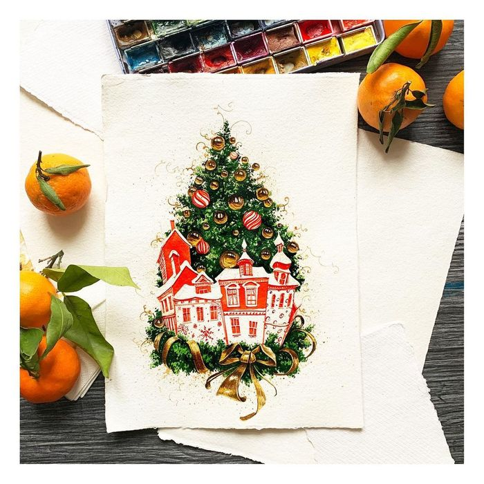 Новогодняя открытка акварелью