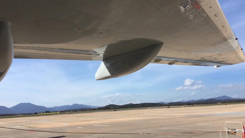 Обои вид, двигатели, Самолёт, сзади, чёрный. Авиация