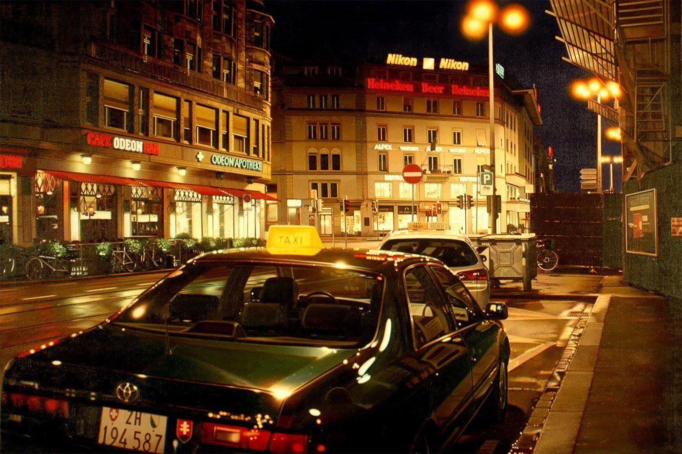 Обои улица, городской пейзаж, автомобиль, Париж Ночью, дома, Константин Коровин, люди, картина. Разное foto 13